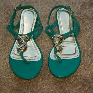 Teal Green Rhinestone Koi Fish Sandals